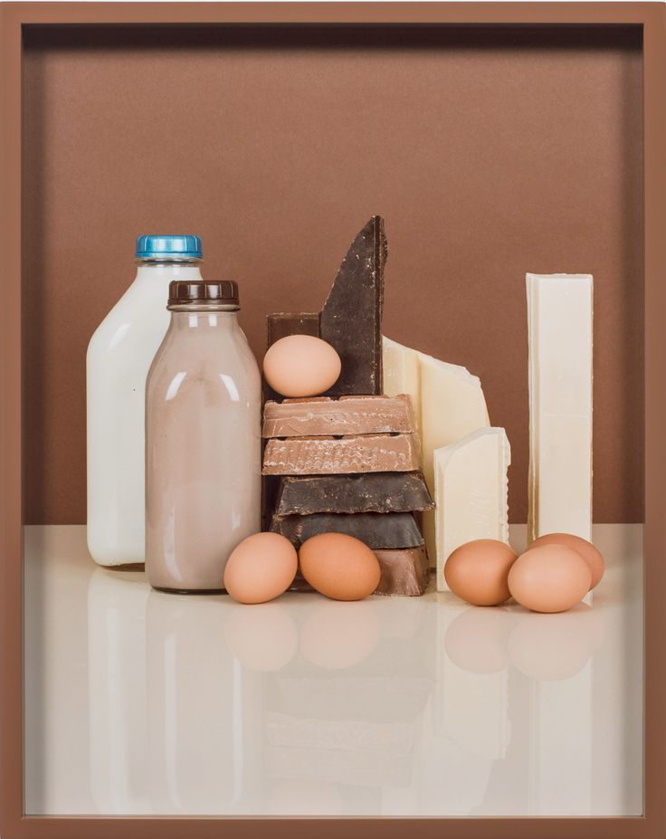 Elad Lassry, Chocolate Bars, Eggs, Milk, 2013 •