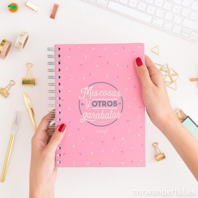 Libreta - Mis cosas y otros garabatos  #mrwonderfulshop #notebook #stationery #pink
