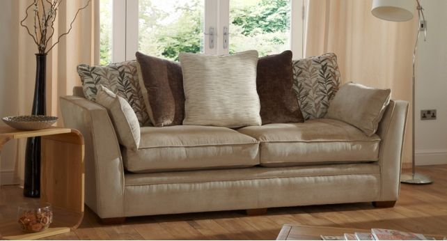Chloe 4 Seater Sofa Scatter Back #cream #casual #sofas #stylish | Fabric  Sofas | Pinterest | Fabric Sofa, Fabrics And Ranges