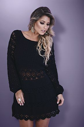 Receitas Círculo - Crochet dress with pattern in Portuguese