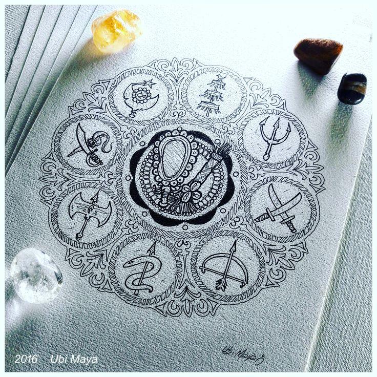 Arte encomendada para tattoo, destino: Salvador-BA. DESENHO PARTE 1 - MANDALA COM OXUM E OBALUAÊ NO CENTRO. Encomendas/orçamentos através do e-mail: notovic@gmail.com
