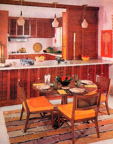 """According to House Beautiful in 1959, this kitchen had """"furniture that makes itself at home anywhere,"""" designed by Schoen Furniture in Allentown, Pennsylvania. """"Designed for the present without breaking from the past, this new furniture blends obligingly with any background,"""" the editors wrote. """"Party tables and chairs have a distinctive style of their own but are at home with all other furnishings in the group. Caned backs have a pleasant texture, and give a sense of lightness and…"""
