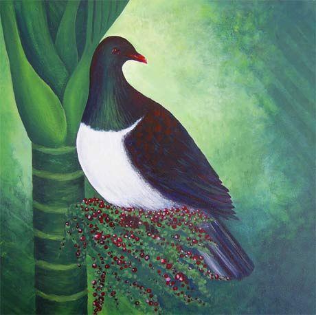 Kereru in Nikau Palm. Pinned by Ian Anderson http://ianandersonfineart.com
