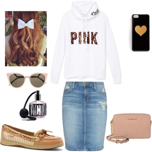 PINK by koahymer on Polyvore featuring polyvore fashion style Victoria's Secret PINK Current/Elliott Sperry Top-Sider Fendi Victoria's Secret