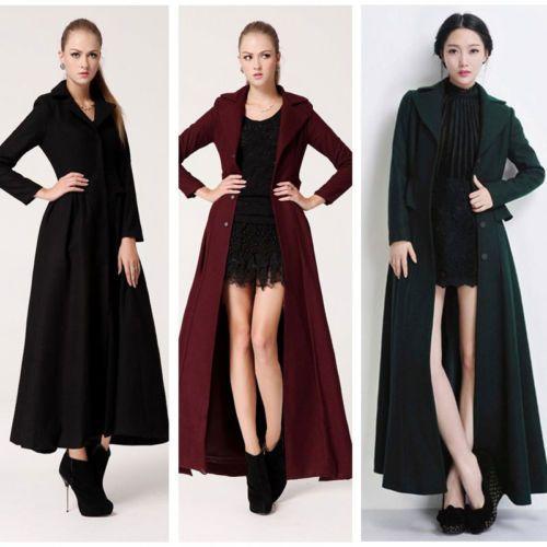 Women Turn-down Collar Slim Fit Wool Coat Long Sleeve Big Swing Long Overcoat
