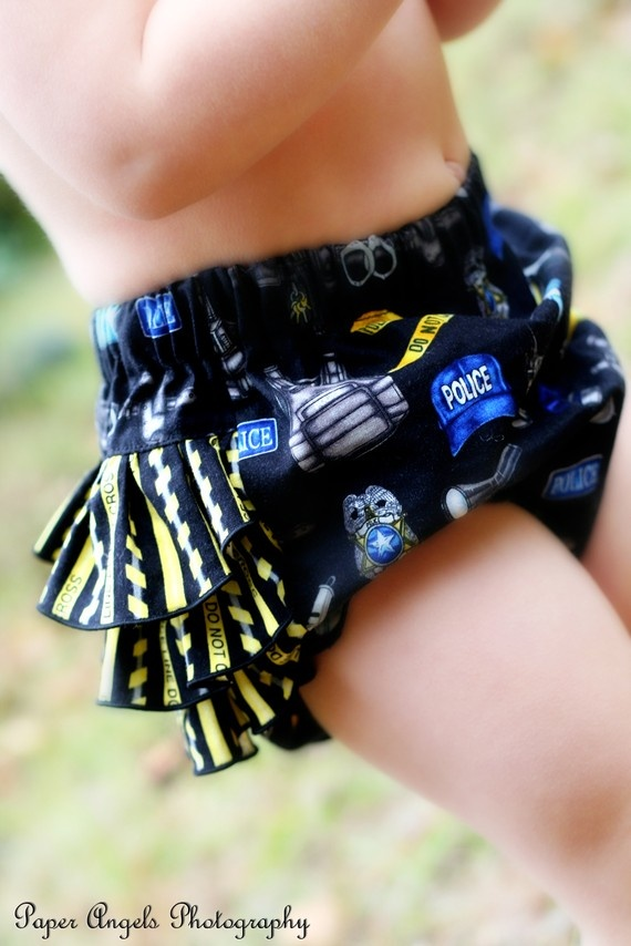 Police Officer ~ Ruffled Bottom Bloomer/Diaper Cover