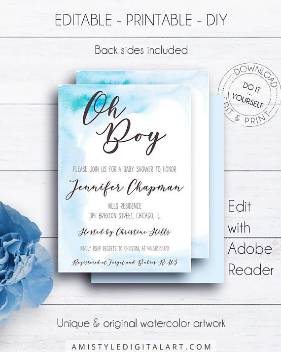 Blue Watercolor Baby Shower Invite, on a watercolor stain backround in blue.This modern baby shower printable invitation listing is for an instant download EDITABLE PDF so you can download it right away, DIY edit and print it at home or at your local copy shop by Amistyle Digital Art on Etsy