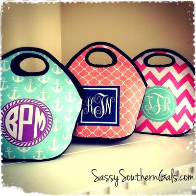 Lunch Tote, Personalized Monogrammed Lunch Box · Sassy Southern Gals Boutique · Online Store Powered by Storenvy