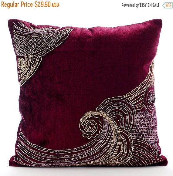 15% YEAR END SALE Introducing one of my latest designs - Zardozi Waves - Embroidered Purple Velvet Throw Pillow Cover. Buy Now!