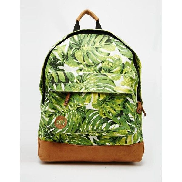 Mi-Pac Backpack in Fern Leaf Print ($51) ❤ liked on Polyvore featuring bags, backpacks, green, leaf bags, knapsack bags, green backpack, day pack backpack and rucksack bag