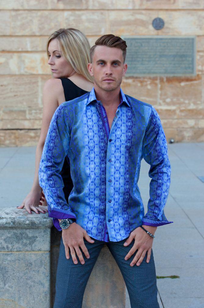 Looking edgy in the latest Simon Hart Casablanca purple long sleeve shirt: online at simonhart.com.au