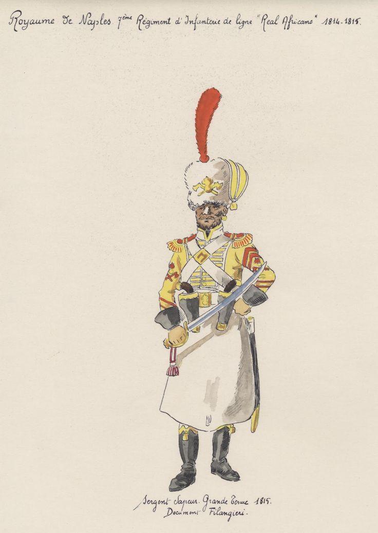 """sergent sapeur grande tenue 1815 royaume de Naples 7e régiment d'infanterie de ligne """"real africans"""""""