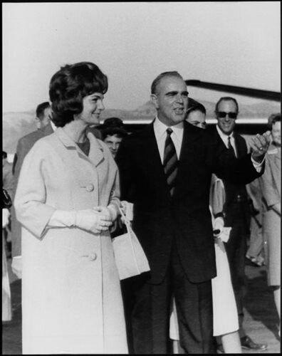 1961 ~ Prime minister Konstantine Karamanlis welcomes Jackie Kennedy at Ellinikon airport