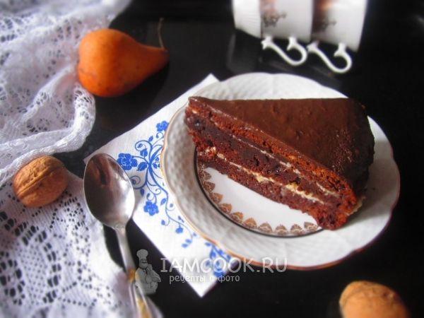 Фото шоколадного торта с грушевым кремом
