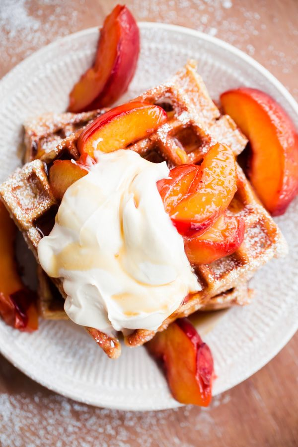Belgian Buttermilk Waffles with Roasted Peaches and Vanilla Mascarpone - The ultimate waffle recipe to highlight the best of summer peaches!