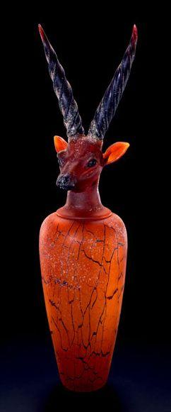 Canopic Eland Jar. Blown glass by William Morris. http://www.lowegallery.com #sculpture #contemporary #art