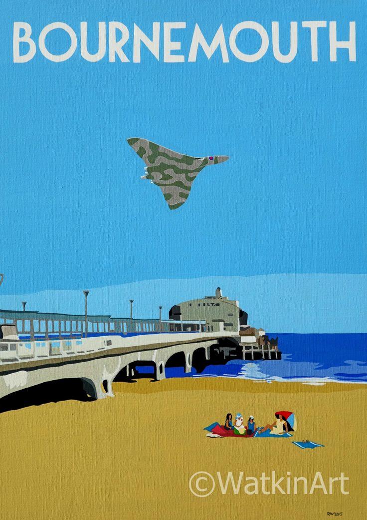 Bournemouth pier with Vulcan Bomber, original painting and prints by Richard Watkin. www.watkinart.co.uk