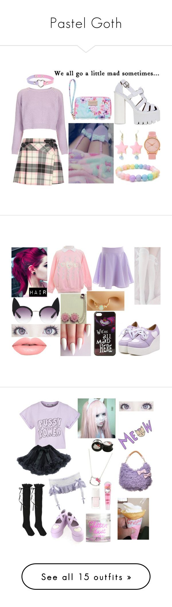 """Pastel Goth"" by milly-burley ❤ liked on Polyvore featuring Forever New, River Island, Topshop, Komono, Jeffrey Campbell, women's clothing, women, female, woman and misses"