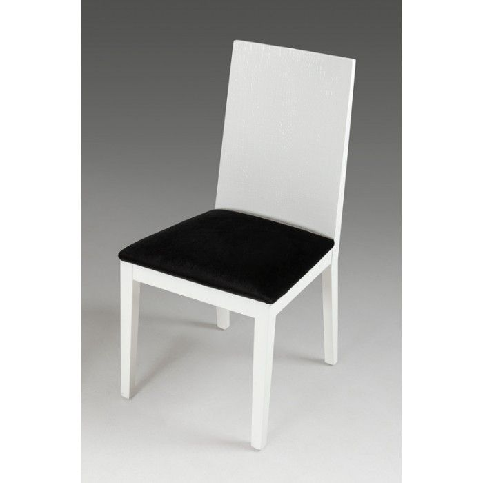 Modern Armani Black Dining chair with square back and black lacquer, crocodile texture. Comfortable velour cushion. Available in black and white.