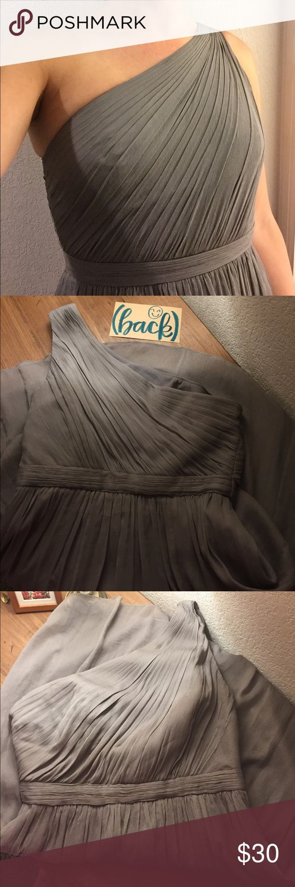 J Crew Bridesmaid Dress Kylie Graphite Kylie Dress in Silk Chiffon side zip. Size 4. Fits comfortably size 4 but I am currently a size 6 in the photos. Only wore this once for the wedding so I hope someone in need of a one shoulder J Crew Silk Chiffon Graphite colored dress is about to find this deal!!! J. Crew Dresses Wedding