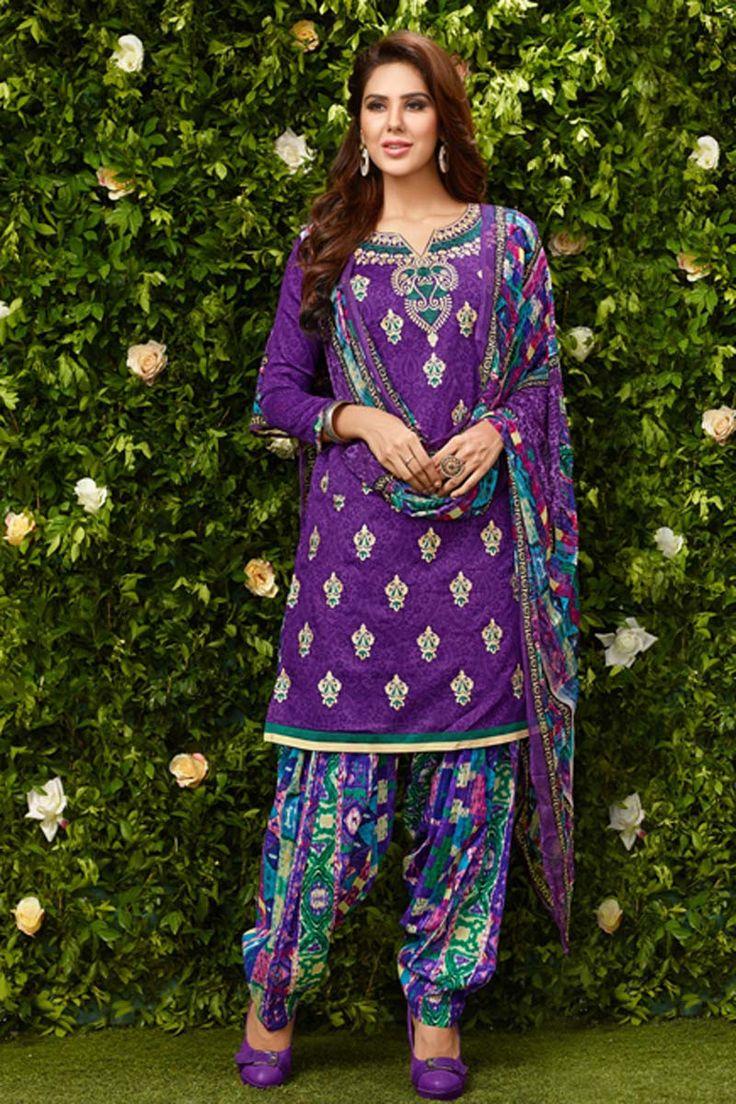 Purple Cotton Punjabi Suit