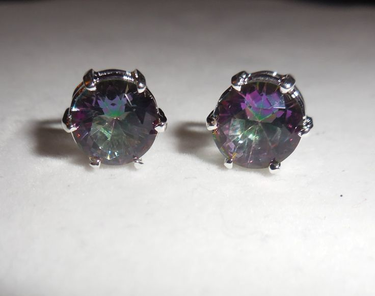 Mystic topaz Earrings, Studs, 925 Sterling silver setting post and backing, Butterfly Backing by ZephyrGemsandEtc on Etsy