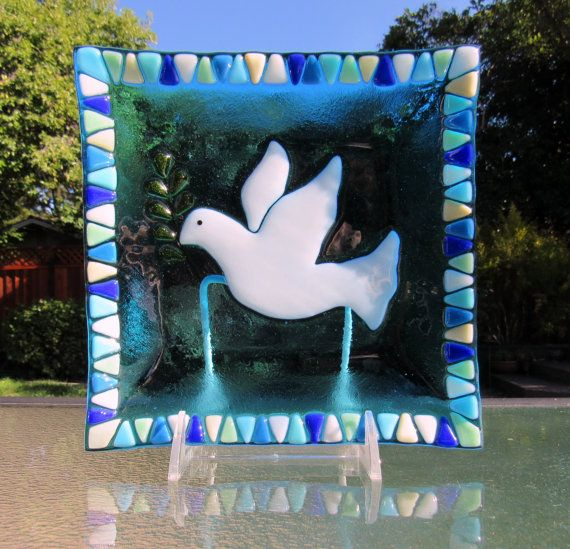 Fused Glass Plate Peace Dove with Olive Branch by Shakufdesign