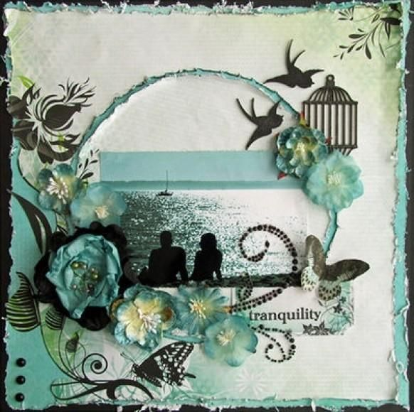 Scrapbooking - I really like how the birds and birdcage was incorporated! #scrapbook #layout #page http://scrapnparadise.webs.com