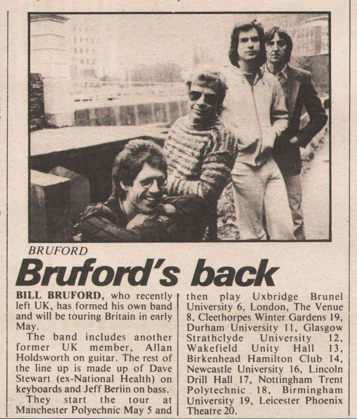 Tour news – BB – Bruford's Back – UK tour announcement – Sounds – 5th May – The Genesis Archive