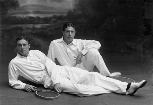 "Reginald Doherty (left) with his brother Laurence, both former World No. 1 English tennis players - Reginald or ""R.F."" Frank Doherty (1872 – 1910) Wimbledon W (1897, 1898, 1899, 1900, 1901, 1903, 1904, 1905) & Hugh Laurence ""Laurie"" Doherty (1875 – 1919) Singles champion: 1902, 1903, 1904, 1905, 1906 . Both brothers apparently suffered from respiratory problems throughout their lives and died young, ""R.F."" aged 38, & ""Laurie"" aged 43."