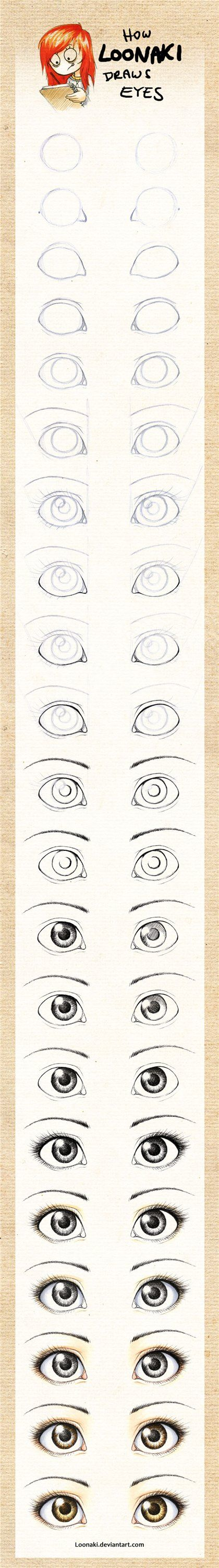 how to draw eyes ~larger and rounder