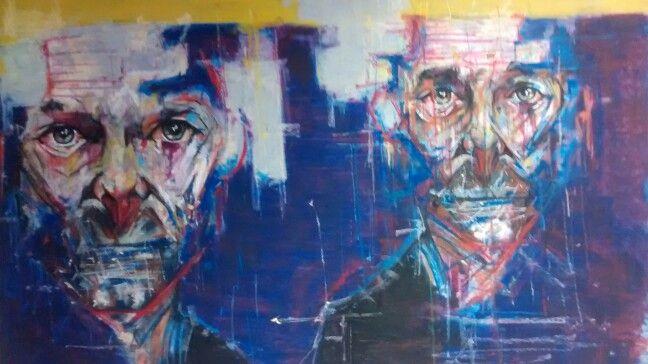 Diversity by Dimitris. 1.8 m x 1m oil pastel.