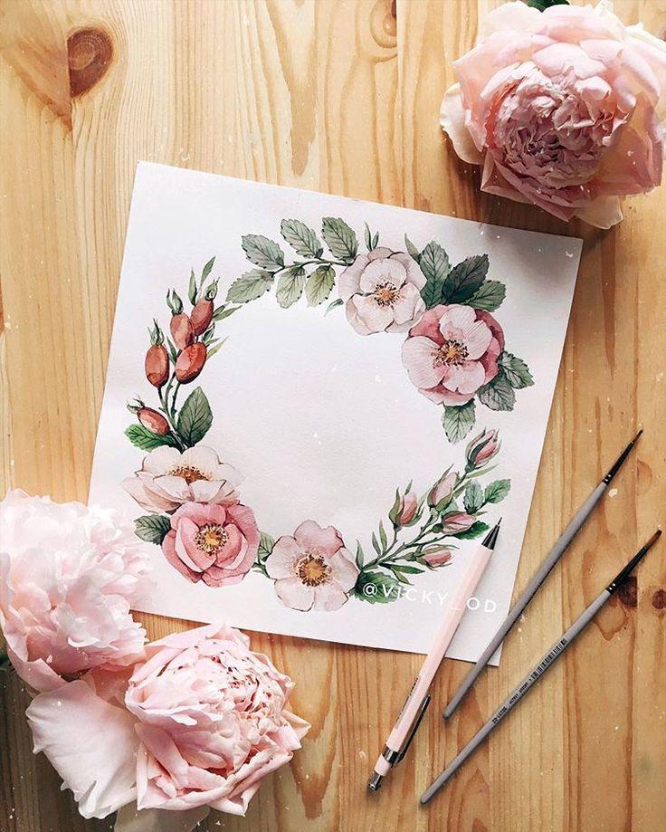 Цветы акварель открытки, днем