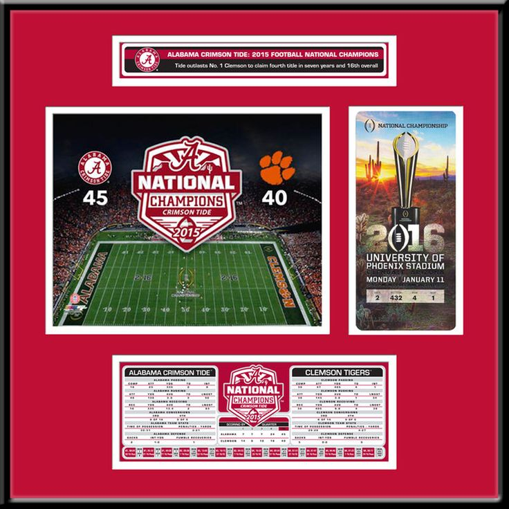 Alabama Crimson Tide College Football Playoff 2015 National Champions Ticket Frame with Stat Box