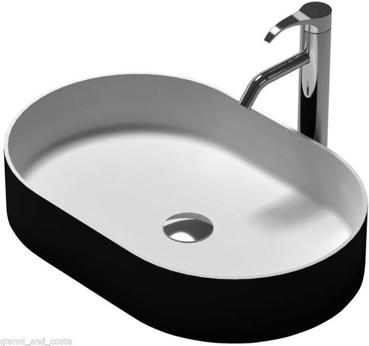 BATHROOM - OVAL ABOVE COUNTER TOP BASIN STONE - SOLID SURFACE MATT BLACK FINISH