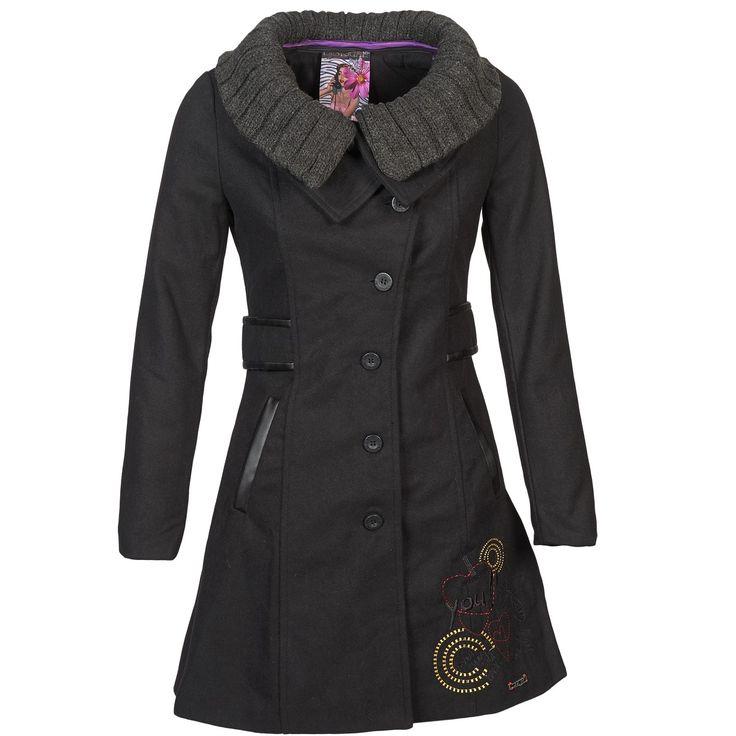 Manteau Femme Spartoo, achat Manteaux Desigual GLASSITO Noir prix promo Spartoo 184.00 € TTC