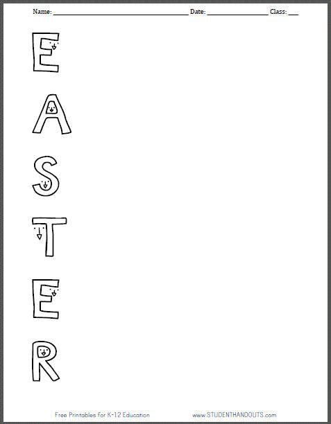 free printable easter acrostic worksheet for kids holidays in 2019 easter poems acrostic. Black Bedroom Furniture Sets. Home Design Ideas