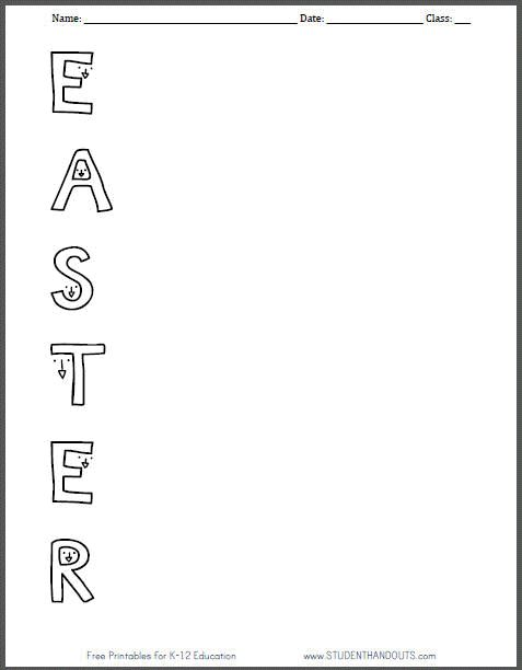 Free Printable Easter Acrostic Poem Worksheet For Kids