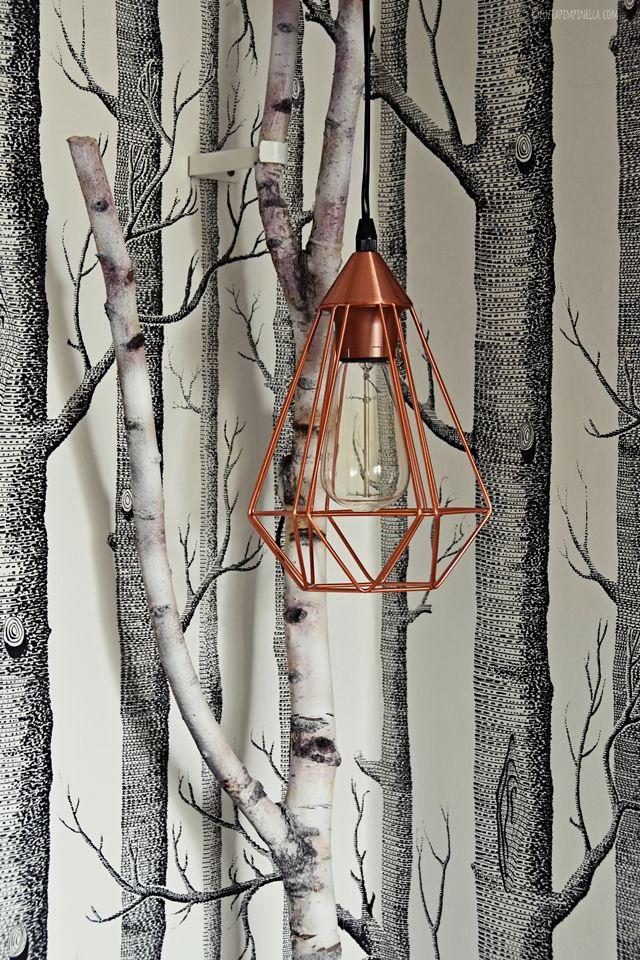 Interior DIY | Selbstgebaute Birkenast Kupfer Lampe | Teenager Mädchen  Zimmer | Luziapimpinella.