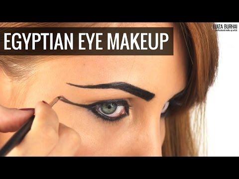 Egyptian Eye Makeup tutorial - YouTube Watch for base / contouring makeup.