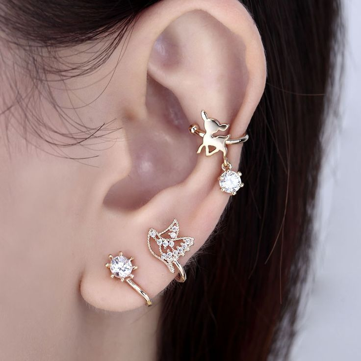 #Cubic Zircon Charm Deer No Piercing Ear Cuffs Earring