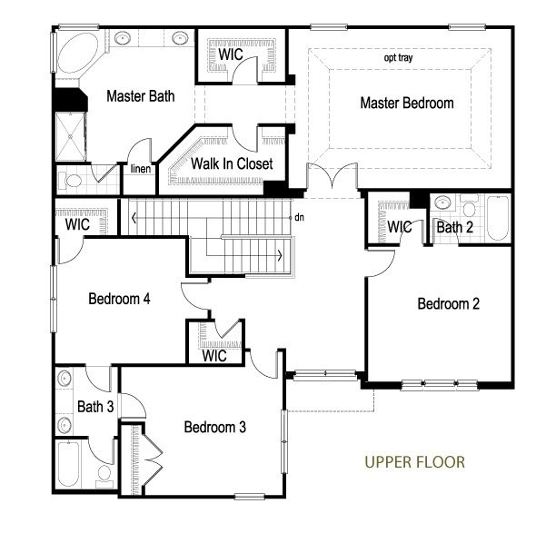 2 Story Upper Floor Plan By Meritus Homes Via Flickr Huge Master Suite 2 Wics 4 Bedrooms