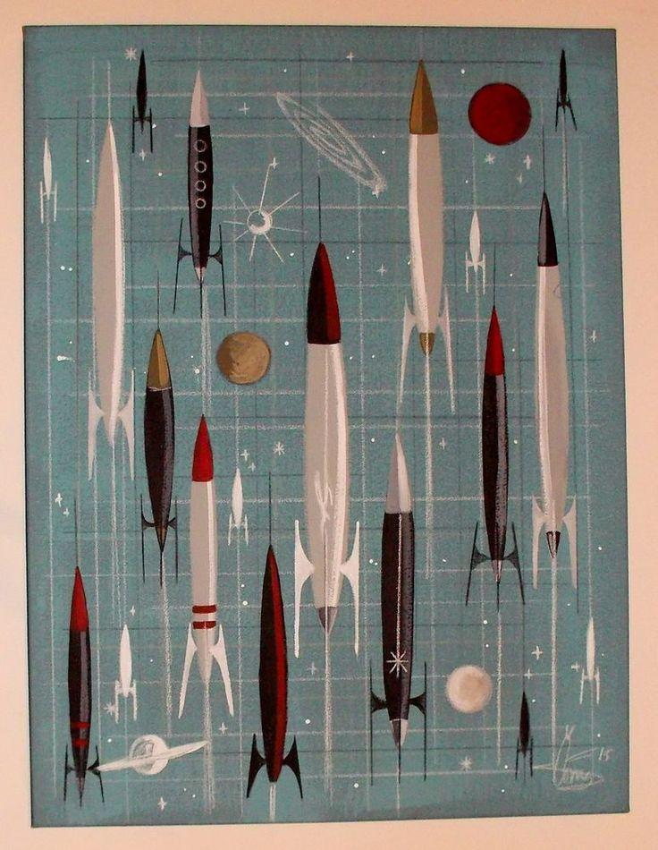 El gato gomez painting retro mid century modern atomic sci-fi rocket ship 1950s