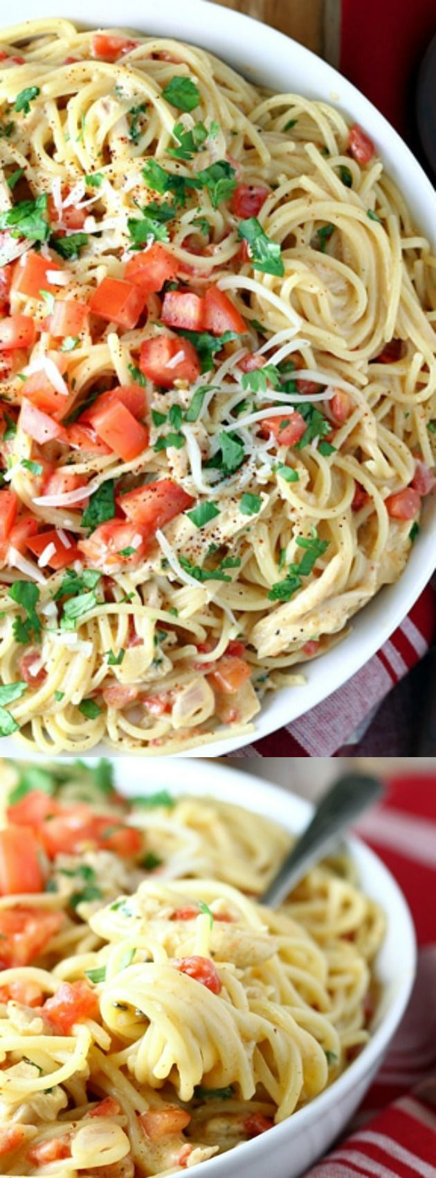 This White Tex Mex Chicken Spaghetti from Let's Dish has everyone coming back for seconds. Rotel tomatoes, chili powder, and cumin give this savory pasta dish it's Tex Mex flare!