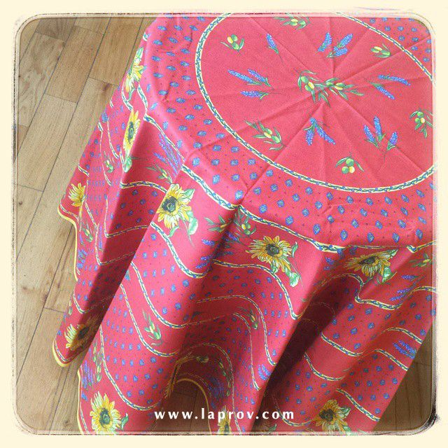 Sunflower & Lavender Red Provence Tablecloth