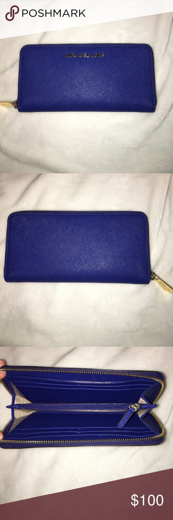 MICHAEL KORS WALLET Jet Set Travel Saffiano Leather Continental Wallet in Electric Blue. Looks brand new, no damage Michael Kors Bags Wallets