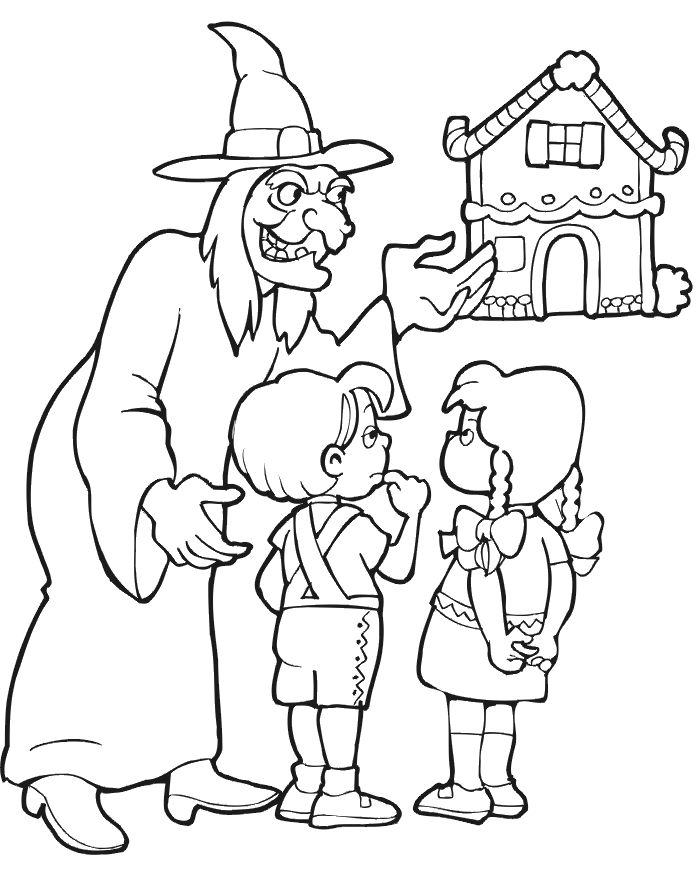 Hansel and Gretel coloring page of Gretel picking lollipops.