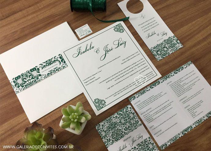 Identidade visual casamento composta por: convite de casamento, menu personalizado com dobra e cartão de lista de presentes e tag de carro. Modelo 25