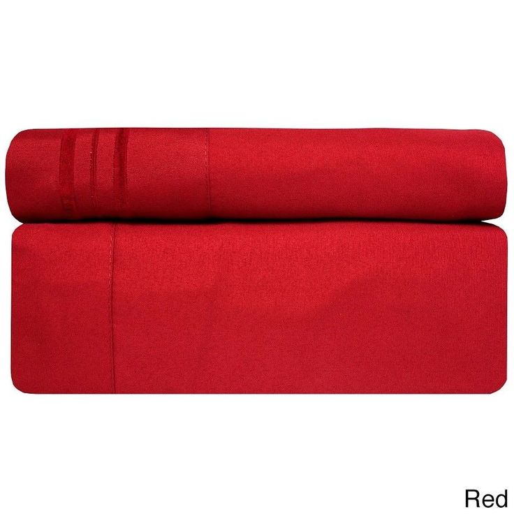 3 Piece TWIN Red Bed Sheet Set Fitted Flat Pillowcase New Free Shipping