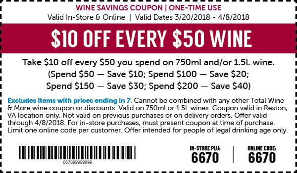 10 Off Every 50 In Wine Thru 4 8 Totalwine Reston 10 Things Wine